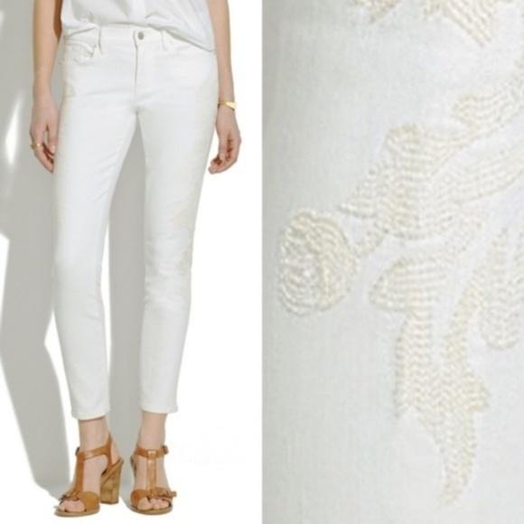 Madewell Denim - Madewell Skinny Skinny Crop Embroidered Jeans Flor